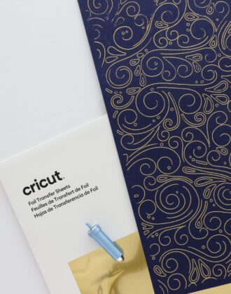 Cricut Foil Transfer Sheets with navy cardstock