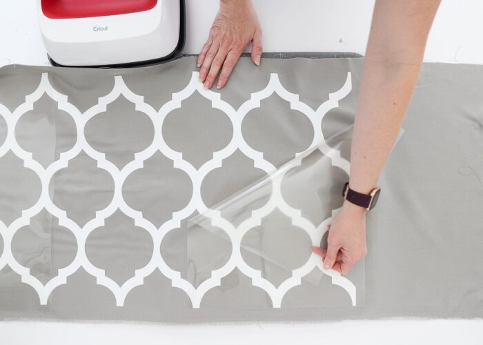 Place Cricut Smart Iron-On Design onto pillow and heat with Easy Press