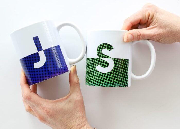 Split monogram mugs in blue and green