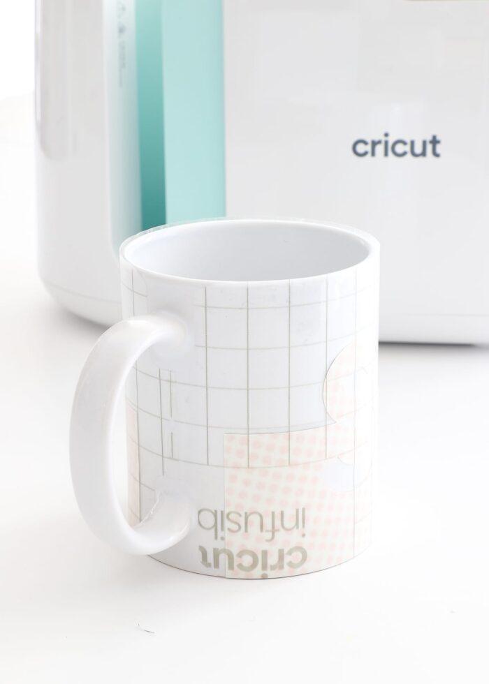 White mug with Cricut Mug Press