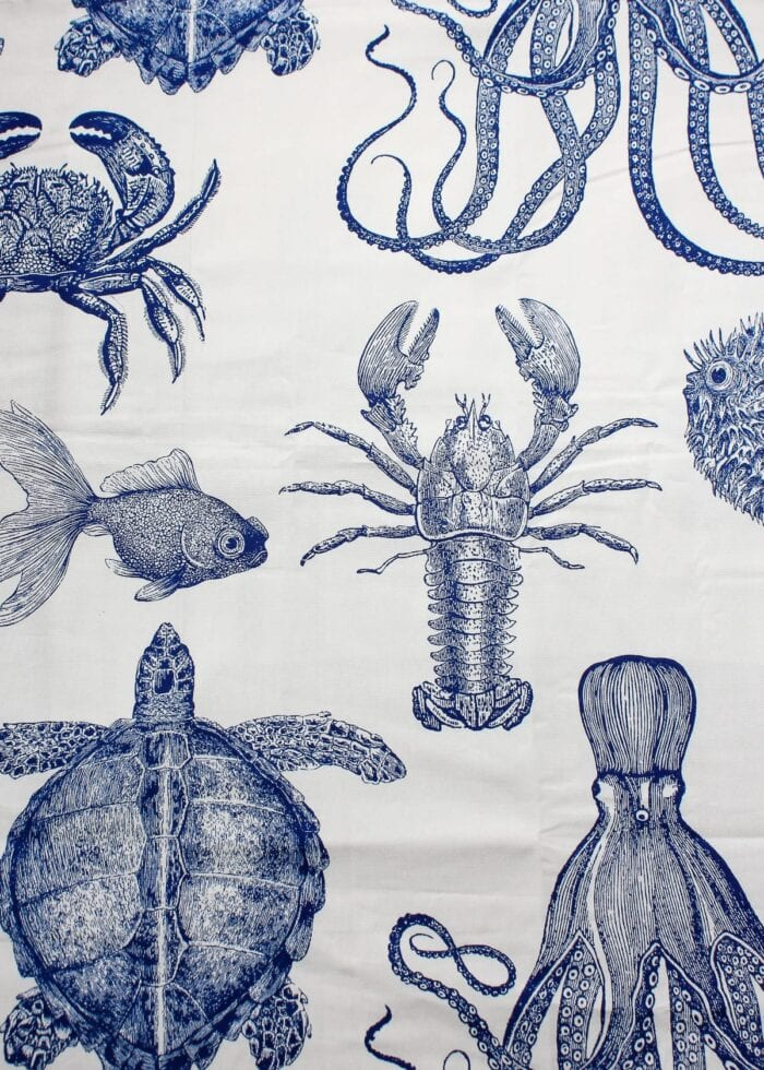Navy and white fabric with sea creatures