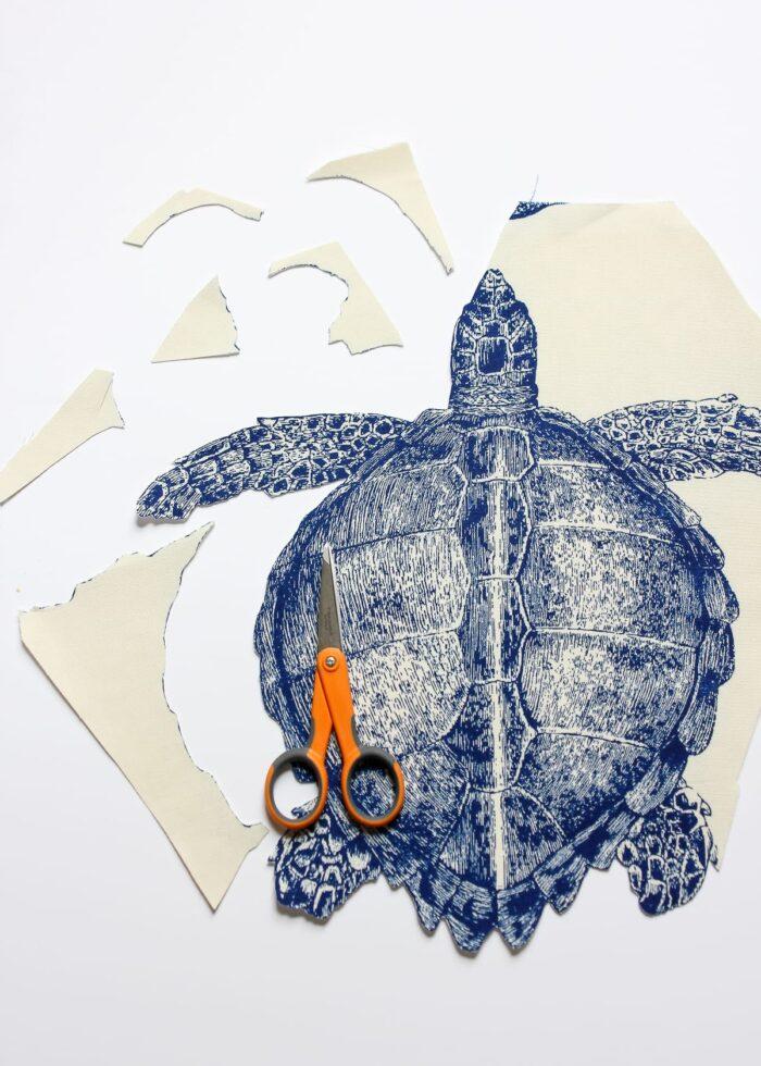 Scissors with sea creature fabric