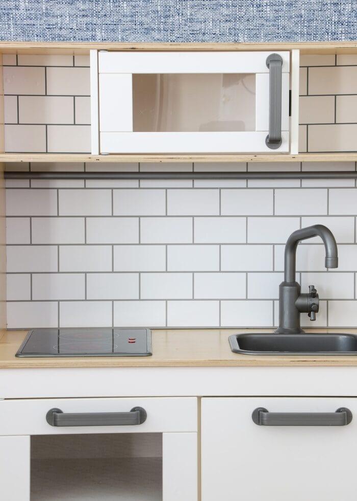 Subway Tile Backsplash on an IKEA DUKTIG Play Kitchen