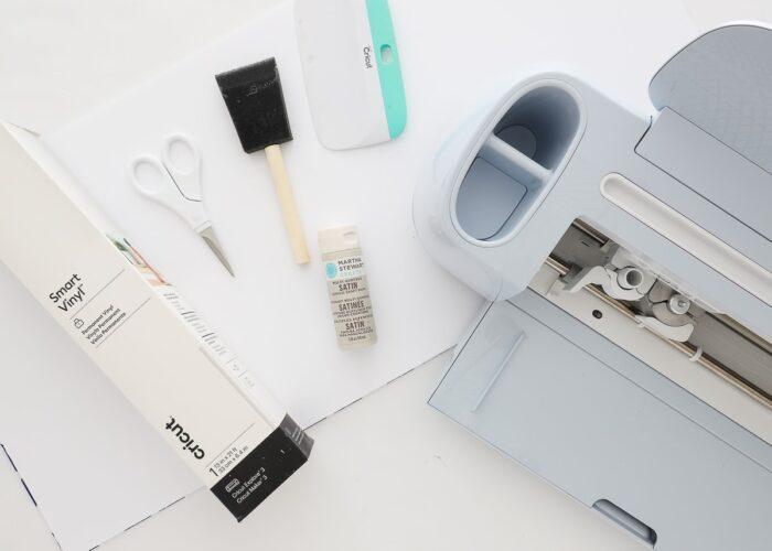 Cricut Maker 3 with Smart Vinyl, foam board and tools to make Vinyl Backsplash