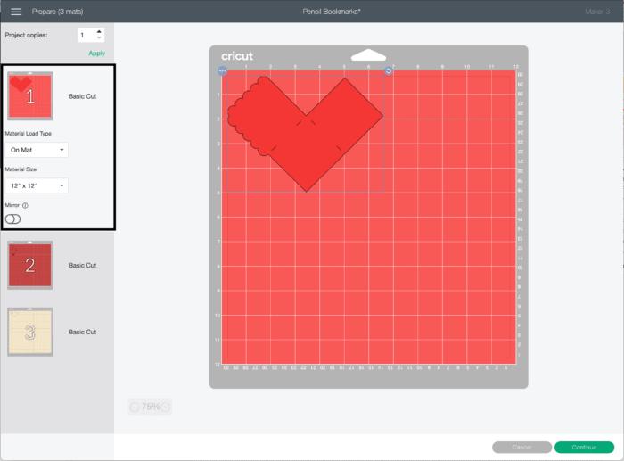 Screenshot of Cricut Design Space cut screen with red mat.