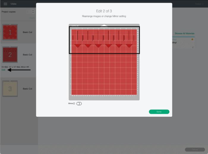 Screenshot of Cricut Design Space cut screen.