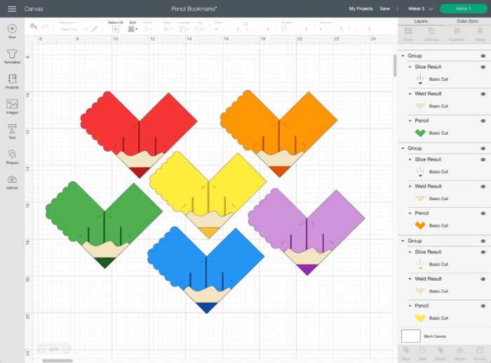 Screenshot of rainbow pencil bookmarks design within Cricut Design Space.