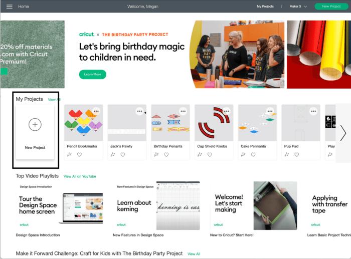 Screenshot of Cricut Design Space Home Screen