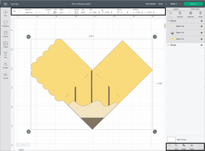 Screenshot of Cricut Design Space with pencil bookmark image on canvas.