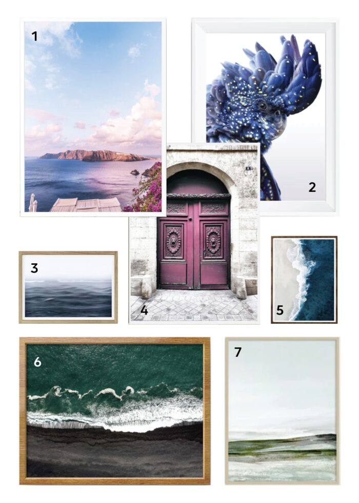 7 sample digital prints from Etsy in blues, pinks, purples and greens.