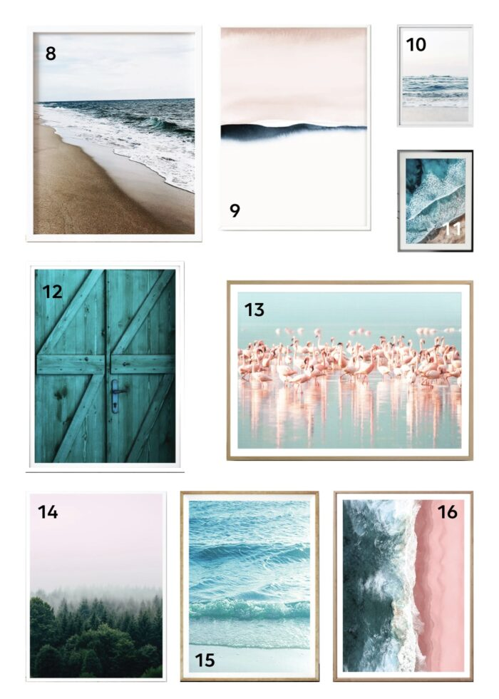 9 sample digital prints from Etsy in turquoises, tans, and pinks.