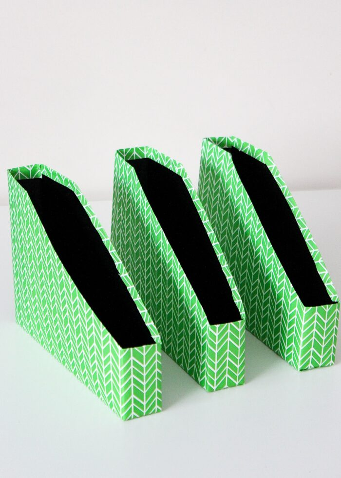 Cut-down cereal boxes wrapped in green wrapping paper.