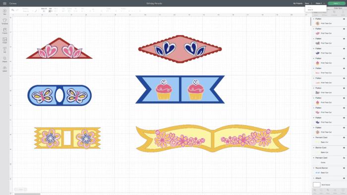 Cupcake topper designs in Cricut Design Space