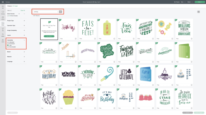 Screenshot of Cricut Design Space showing free images.