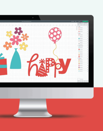 Computer showing screenshot of Cricut Design Space with free images.