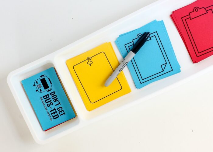 Printable Lunch Box Notes and a marker staged in a drawer divider.