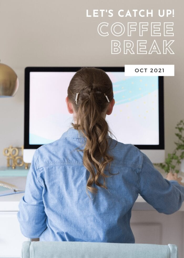 Rear shot of a girl in a blue shirt facing a computer with text overlay.