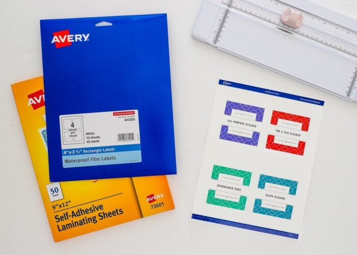Printable cleaning labels shown with Avery Waterproof Film Labels and Self-Adhesive Laminating Sheets.