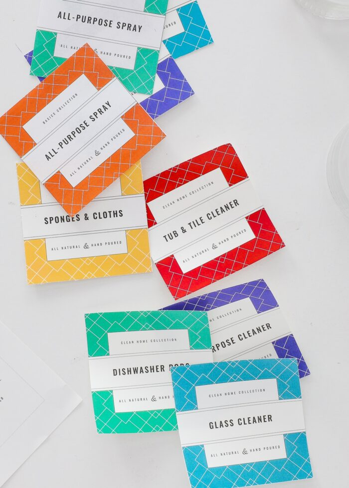 Colorful printable cleaning labels.