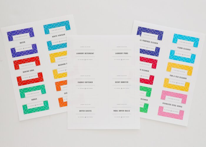Printable cleaning labels in color and black-and-white.