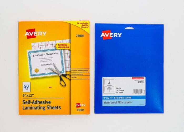 Avery Waterproof Labels shown with Avery Self-Laminating Sheets.