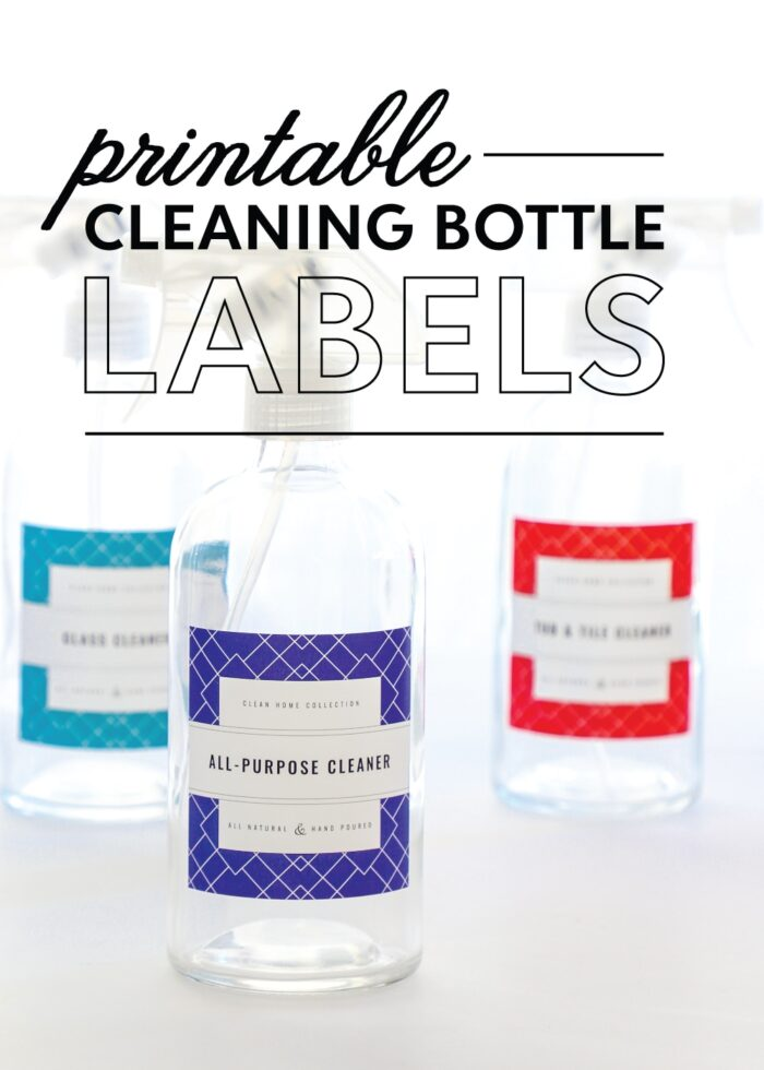 Glass cleaning spray bottles with red, blue, and turquoise printable cleaning labels.