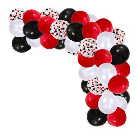 Red, white, black balloon garland